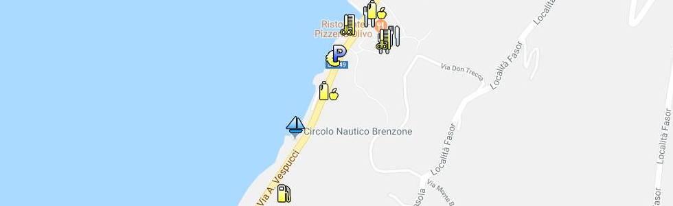 Karte mit Geschäfte Symbolen von Castelletto di Brenzone